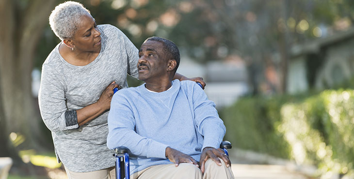 Senior black couple with man in wheelchair